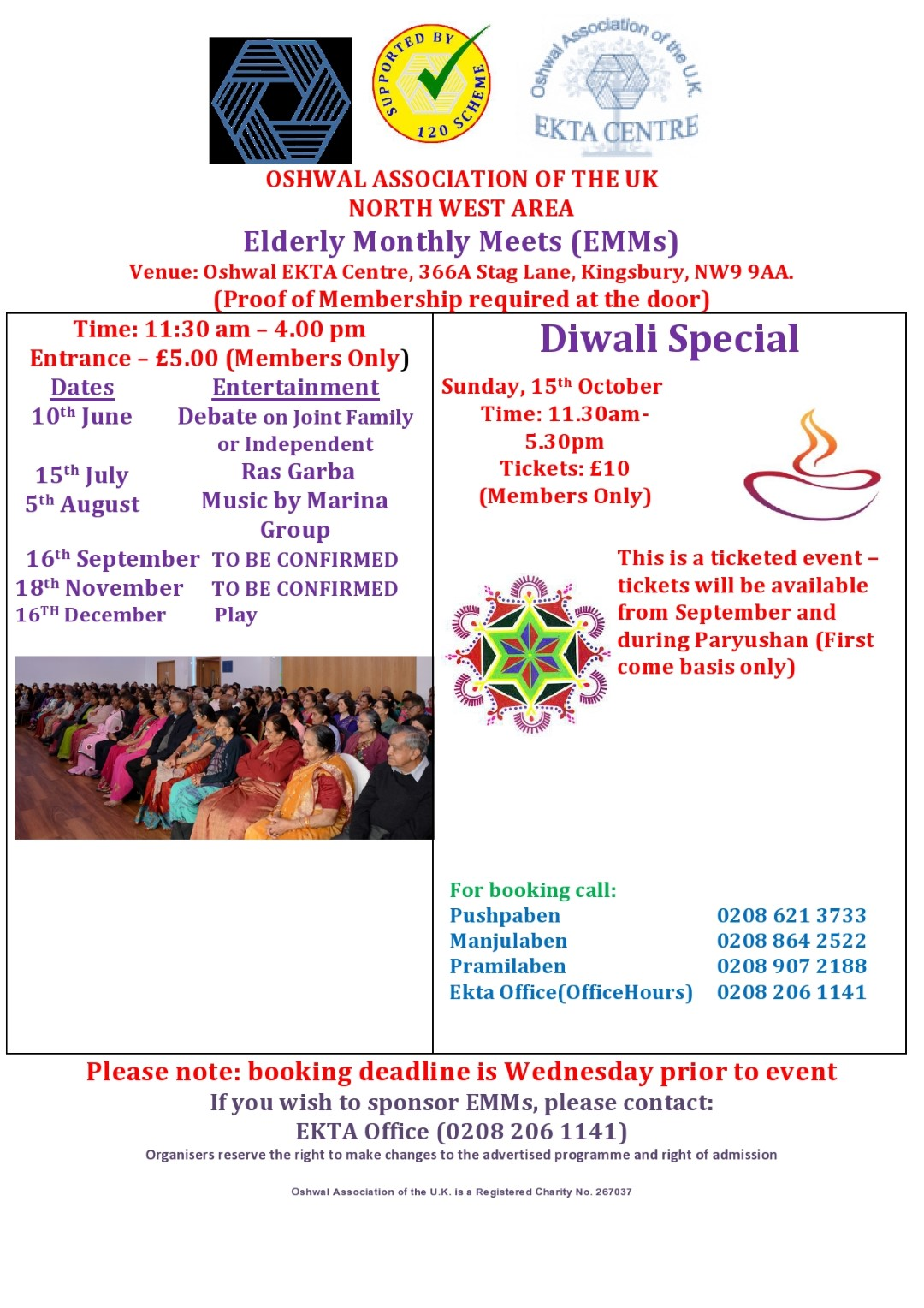 Elderly Monthly Meets - EMM (North West Area) @ Oshwal EKTA Centre | Edgware | United Kingdom