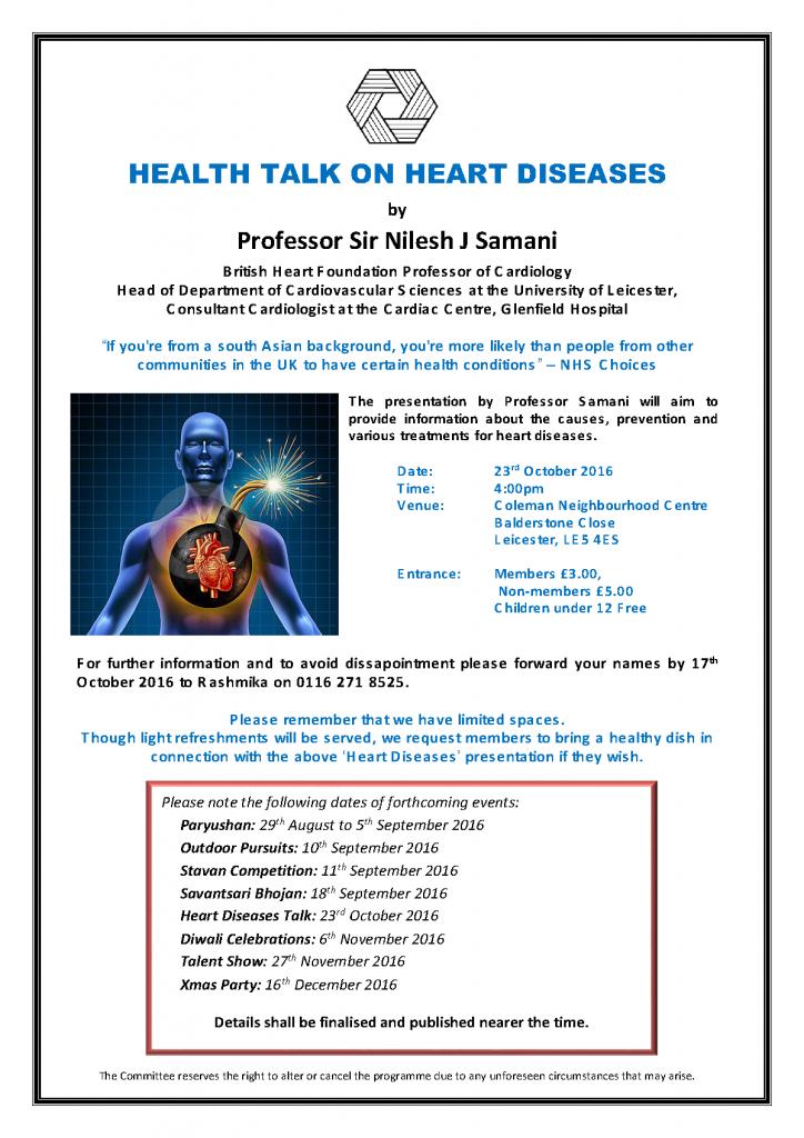 Health Talk on Heart Diseases @ Coleman Neighbourhood Centre   Leicester   England   United Kingdom