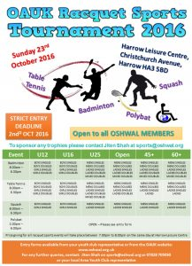 Racquets Tournament 2016 @ Harrow Leisure Centre