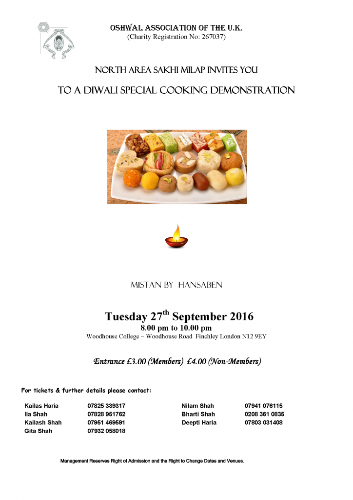 Diwali Special Cooking Demonstration @ Woodhouse College | London | England | United Kingdom