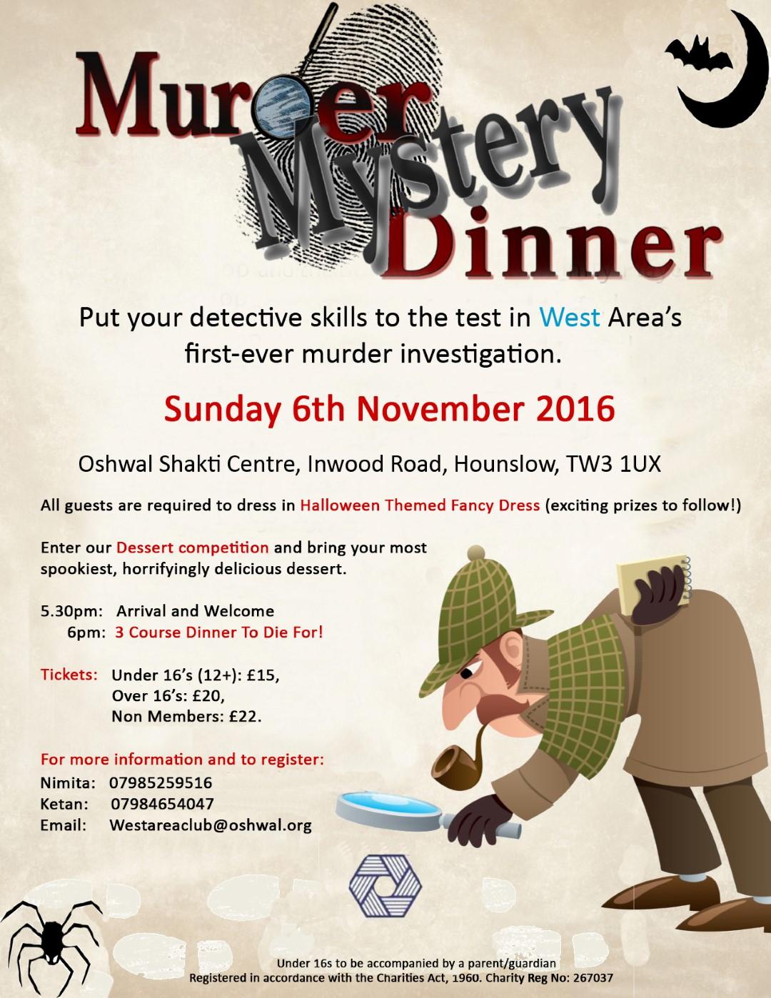 Murder Mystery Dinner @ Oshwal Shakti Centre   Hounslow   England   United Kingdom