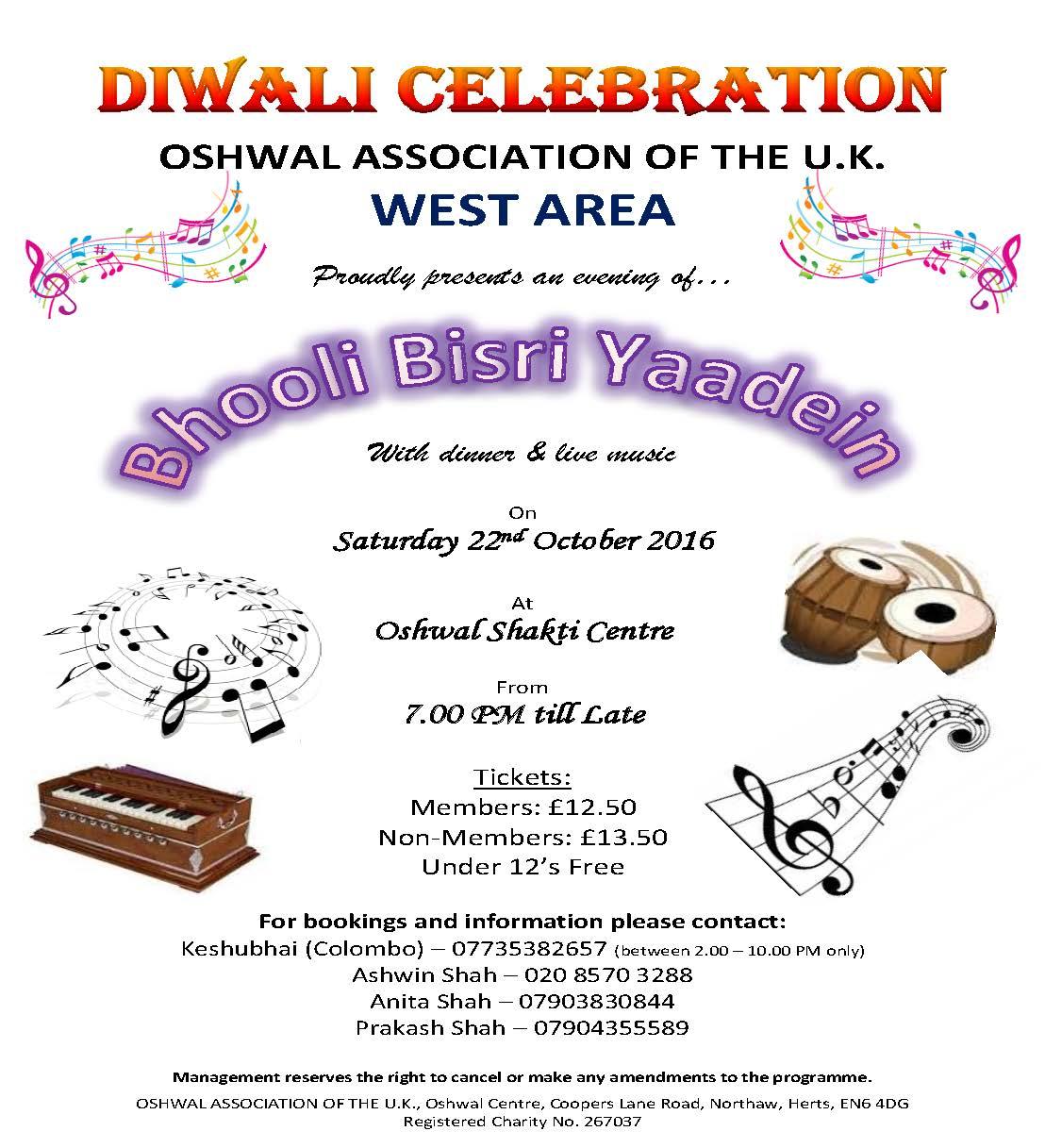 Bhooli Bisri Yaadein - Diwali Celebrations @ Oshwal Shakti Centre   Hounslow   England   United Kingdom