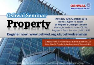 Oshwal Seminar - Property @ Regent's College London   London   England   United Kingdom