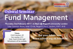 Oshwal Seminar - Fund Management @ Regent's College London | London | England | United Kingdom