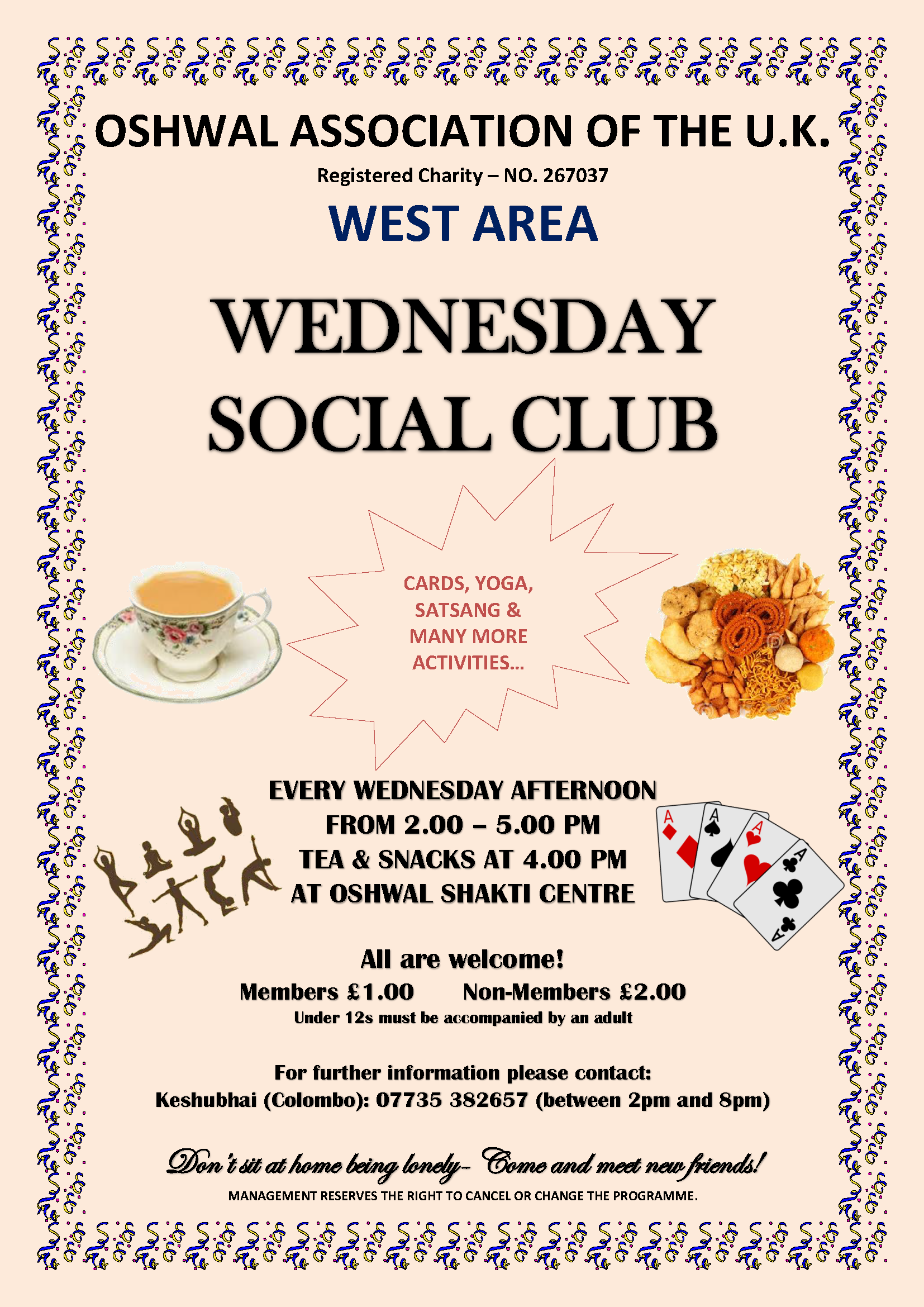West Area Social Club @ Oshwal Shakti Centre | Hounslow | England | United Kingdom