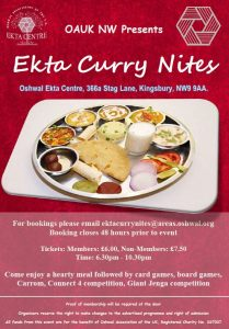 EKTA Curry Nites (North West Area) @ Oshwal EKTA Centre | Edgware | United Kingdom
