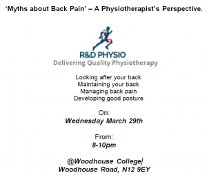 'Myths about Back Pain' – A Physiotherapist's Perspective. @ Woodhouse College | England | United Kingdom
