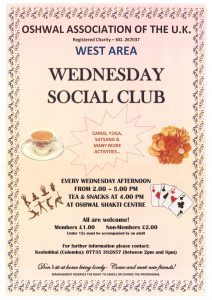 Wednesday Social Club @ Oshwal Shakti Centre | England | United Kingdom