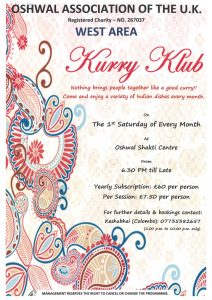 Monthly Kurry Klub! @ Oshwal Shakti Centre | England | United Kingdom