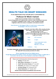 Heart Diseases health talk @ Freer Community Centre | England | United Kingdom