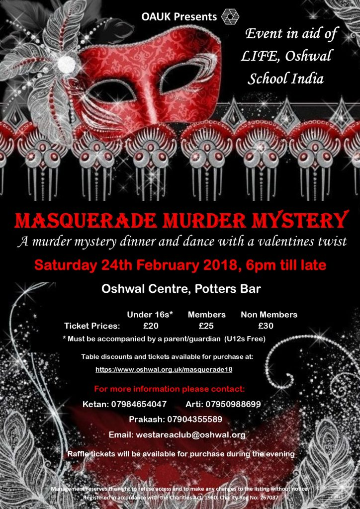 Masquerade Murder Mystery @ Oshwal Centre | Cuffley | England | United Kingdom
