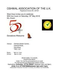 West Area Live Music and Dinner 50+ Night @ Oshwal Shakti Centre | England | United Kingdom