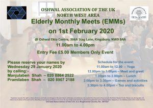 NW Elderly Monthly Meets @ Oshwal Ekta Centre | England | United Kingdom