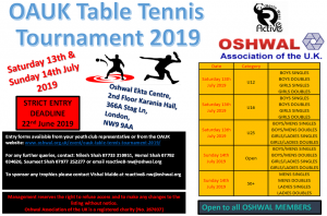 OAUK Table Tennis Tournament 2019 @ Oshwal Ekta Centre,