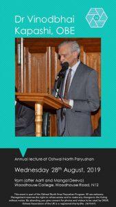 Vinodbhai Kapashi OBE Paryushan Lecture @ Woodhouse College