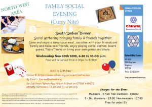 NW Family Social Evening (Curry Nite) @ Oshwal Ekta Centre