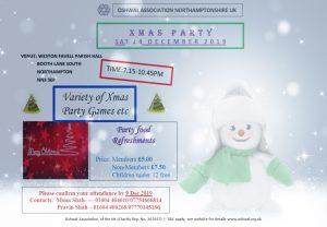 Northamptonshire Christmas Party 2019 @ WESTON FAVELL PARISH HALL