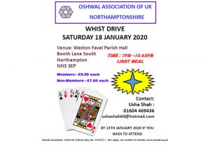 Northampton Whist Drive Jan 2020 @ Weston Favel Parish Hall